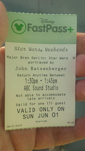 Star Wars Weekends Fastpass