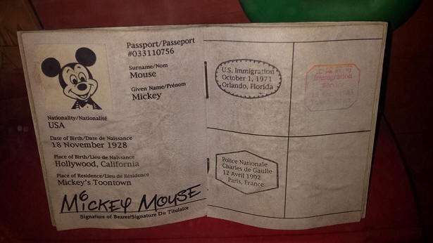Mickey Mouse's passport