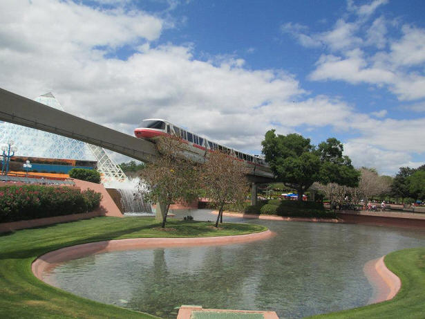 Monorail in front of Imagination