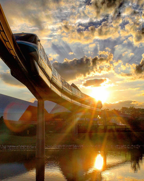 Monorail sunset