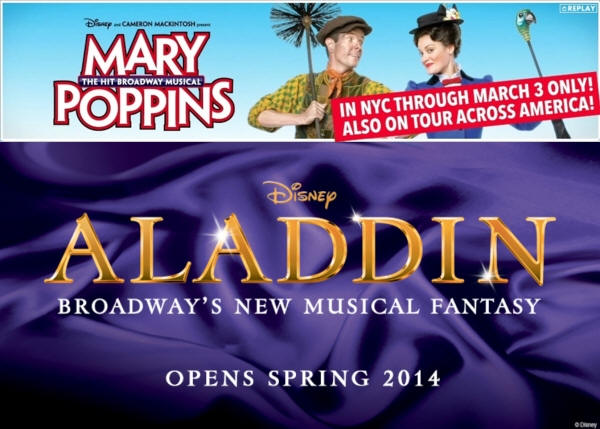 Mary Poppins and Aladdin on Broadway
