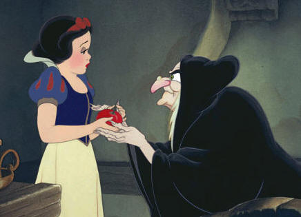 The Queen gives the apple to Snow White in Snow White and the Seven Dwarfs