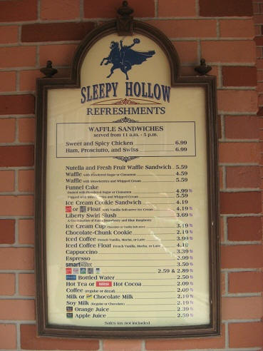 Sleepy Hollow Menu