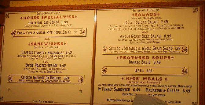 Jolly Holiday Bakery Menu